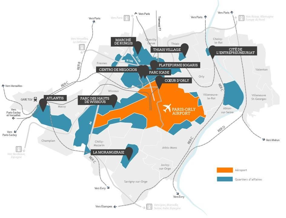 Carte de l'immobilier d'entreprise à Orly Paris