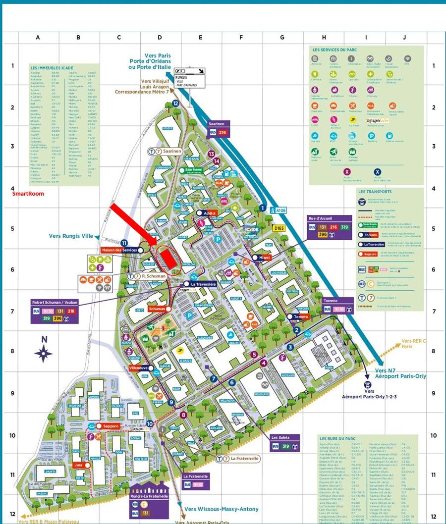 plan d'accès parc Icade